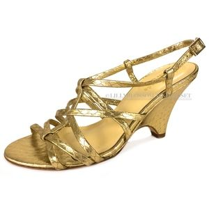 KATE SPADE Gold Snake Criss-Cross Wedge Sandals
